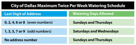 Dallas Tx Watering Schedule